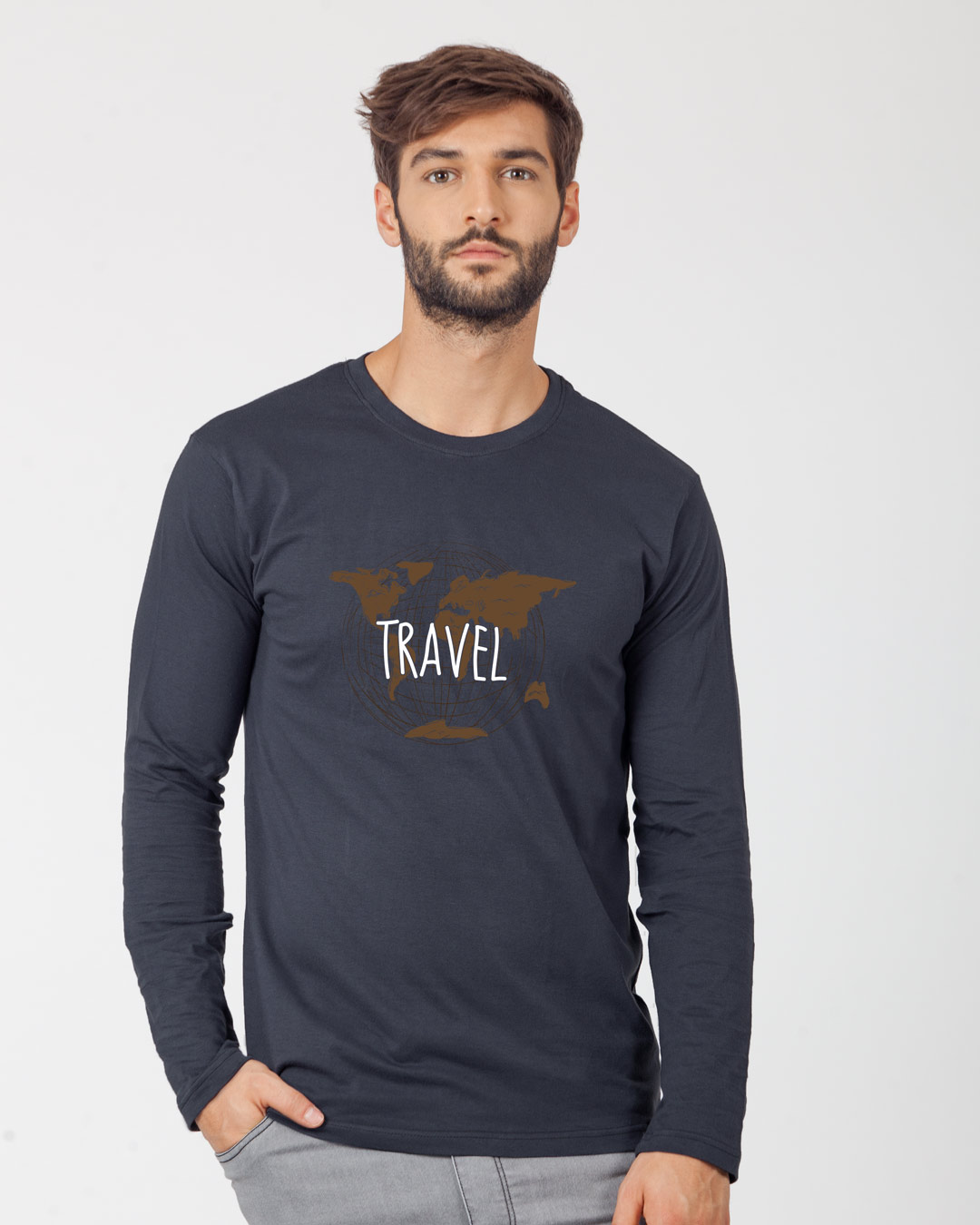 Vintage travel full sleeve t shirt vintage travel mens for Mens full sleeve t shirts online