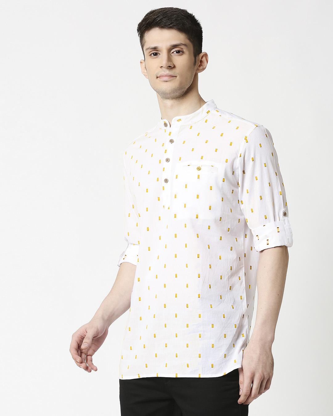 ShopMen's White Mustard Dobby Kurta-Back