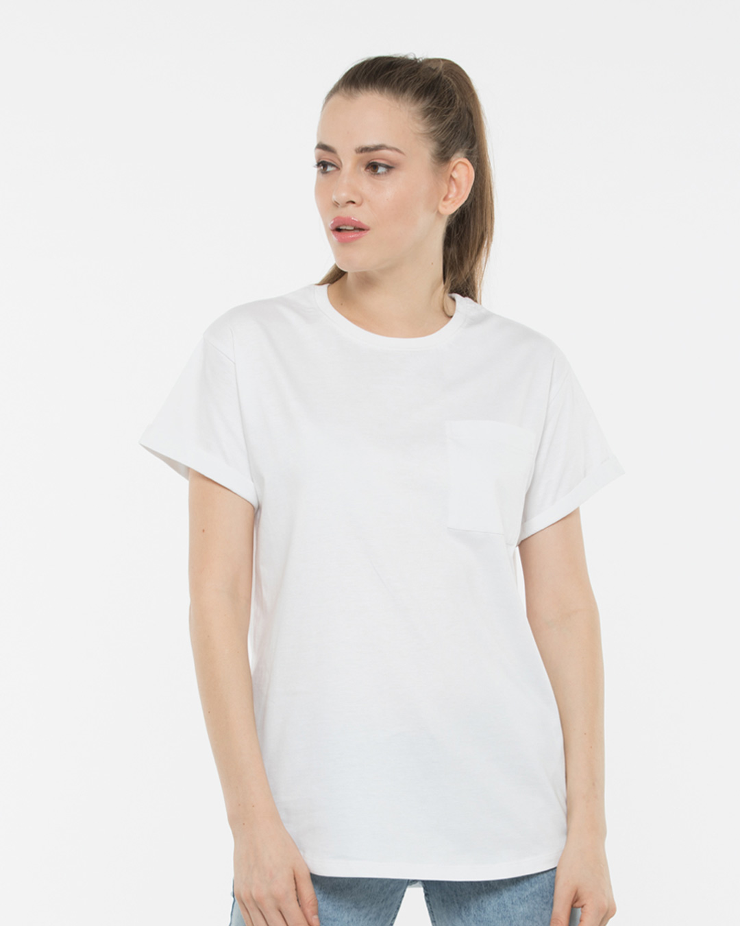 aecb2801e0d White Boyfriend Pocket T-Shirt