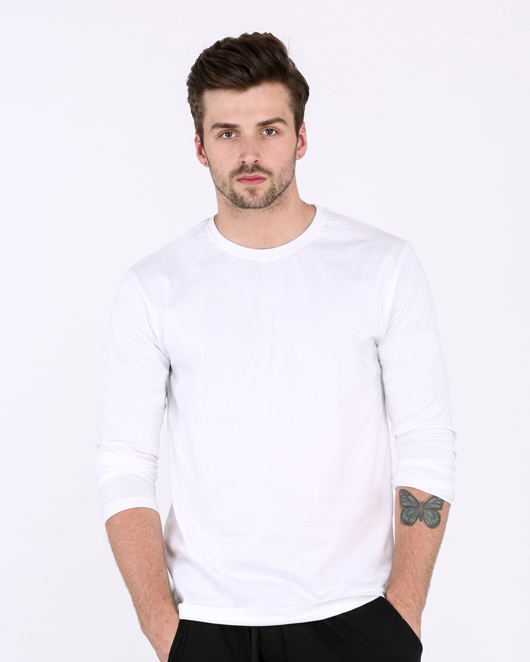 White Plain Long Full Sleeve T-Shirts for Men Online at Bewakoof.com 5ec7610bc
