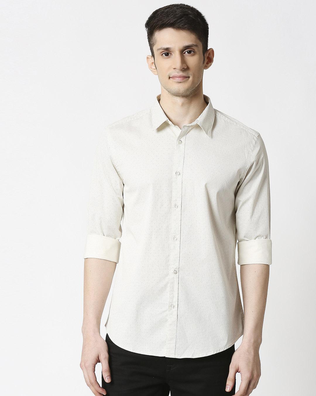 ShopWhite Twill Lycra Print Shirt-Back
