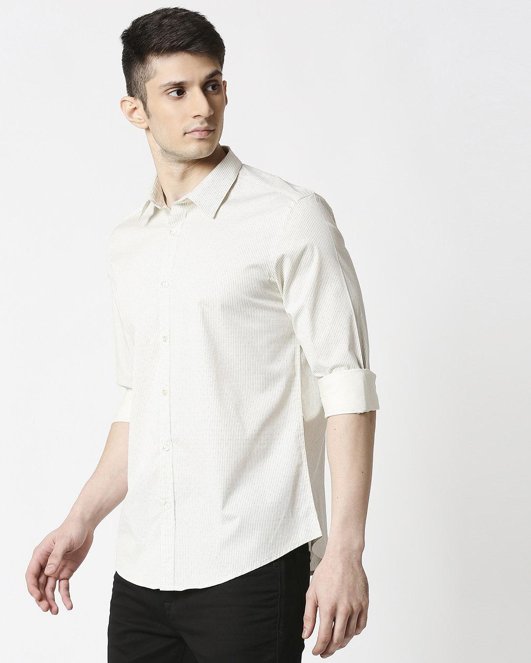 ShopWhite Twill Lycra Print Shirt-Design