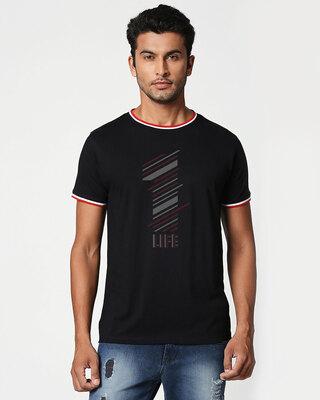 Shop 1 Life Crewneck Varsity Rib H/S T-Shirt-Multicolor-Front