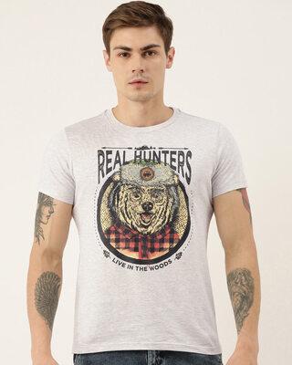 Shop Quancious Mens Grey Melange Organic Cotton Half Sleeves Graphic Printed T-Shirt-Front