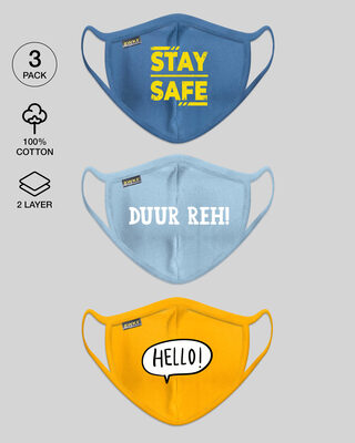Shop 2-Layer Everyday Protective Mask - Pack of 3 (Stay Safe!Duur Reh! Hello!)-Front