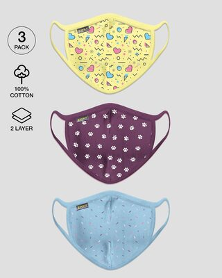 Shop 2-Layer Everyday Protective Mask Pack of 3 (Pastel pattern, paw print, sprinkles)-Front