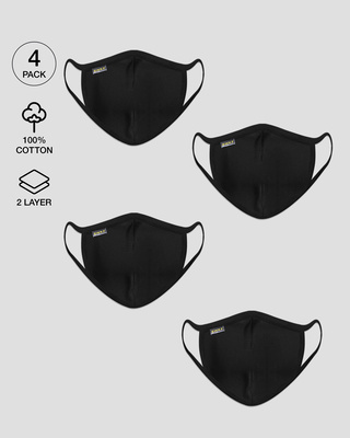 Shop 2 layer Everyday Protective mask Pack of 4( Jet Black*4)-Front