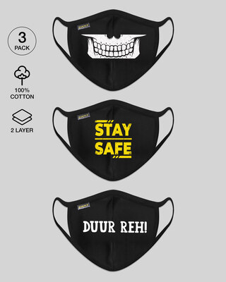 Shop 2-Layer Everyday Protective Masks - Pack of 3 (X-Ray! Stay Safe! Duur Reh!)-Front