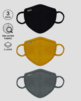 Shop 2-Layer Premium Protective Masks - Pack of 3 (Jet black-Mustard yellow-Nimbus grey)-Front
