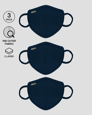 Shop 2-Layer Premium Protective Masks - Pack of 3 (Navy Blue)-Front