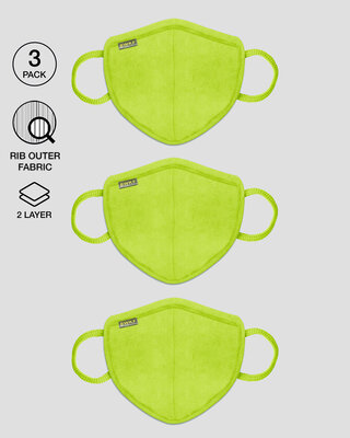 Shop 2-Layer Premium Protective Masks - Pack of 3 (Neon green*3)-Front