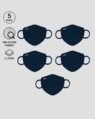 Shop 2-Layer Premium Protective Masks - Pack of 5 (Navy blue)-Front