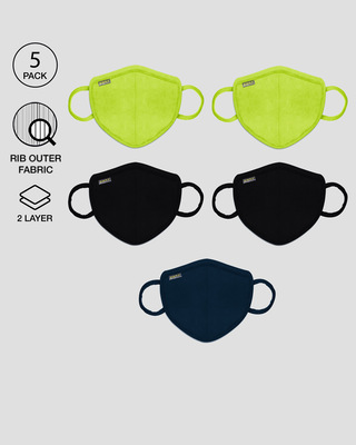 Shop 2-Layer Premium Protective Masks - Pack of 5 (Neon green*2-Jet Black*2-Navy blue)-Front