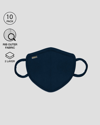 Shop 2 layer Premium Protective Masks Pack of 10 (Navy Blue)-Front