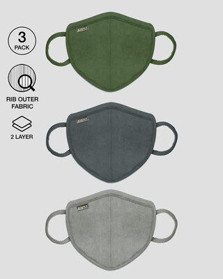 Shop 2 layer Premium Protective Masks Pack of 3 (Dark Olive-Nimbus Grey-Meteor Grey)-Front