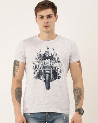 Shop QUANCIOUS Mens Plus Size Grey Melange Organic Cotton Half Sleeves Graphic Printed T-Shirt-Front
