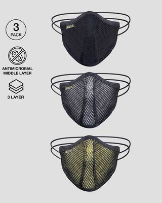 Shop 3 Layer Men Anti-Microbial Mesh Mask Pack of 3(Black-White-Pastel Yellow)-Front