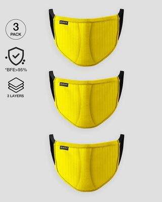 Shop 3 Layer Premium Life Mask Combo of 3 (Pineapple yellow)-Front