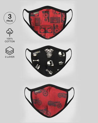 Shop 2-Layer Premium Printed Mask - Pack of 3 (Boomboxes, skull, motorway)-Front
