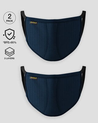 Shop 3 layer Premium Protective Mask Combo of 2 (Navy Blue)-Front