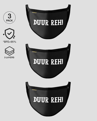Shop 3-Layer Reusable Printed Life Mask-Pack of 3 (Duur Reh)-Front