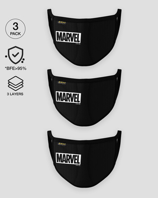 Shop 3-Layer Reusable Printed Life Mask-Pack of 3 (Logo Marvel)-Front