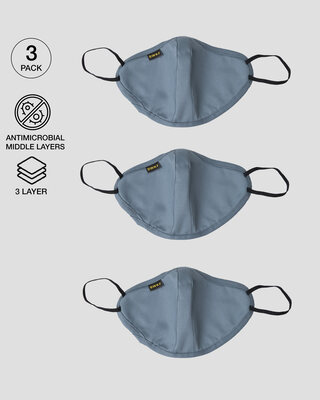 Shop 3 panel fashion mask Combo 0f 3 (Sea Ice Blue)-Front