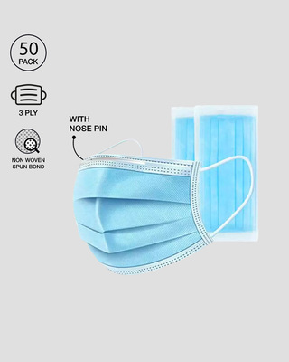 Shop 3 Ply Disposable Mask with Nose Pin - Pack of 50-Front