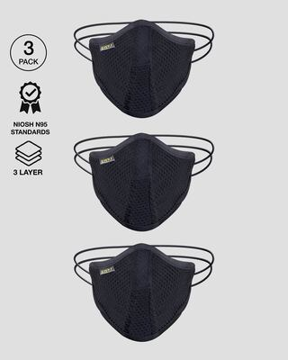 Shop 5-Layer Bewakoof N 95 Reusable Life Mask - Pack of 3 (Black)-Front