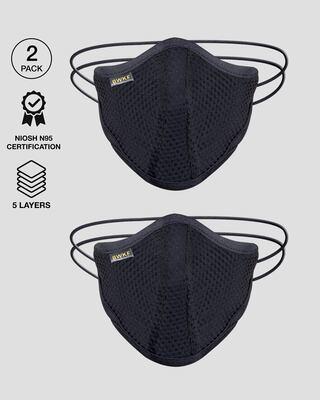 Shop 5 Layer Bewakoof N 95 reusable life mask Men Combo of 2 (Jet Black X 2)-Front