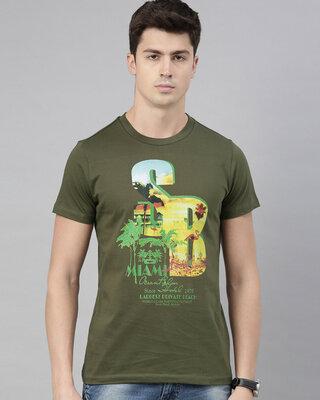 Shop QUANCIOUS Mens Olive Organic Cotton Half Sleeves T-Shirt-Front