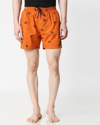Shop A Star Orange Side Pocket Boxer-Front