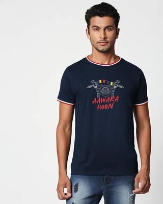 Shop Aawara Hoon Crewneck Varsity Rib H/S T-Shirt Multicolor-Front