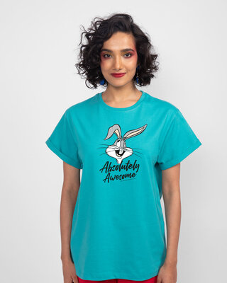Shop Absolutely Awesome Bunny Boyfriend T-Shirt (LTL) Tropical Blue-Front