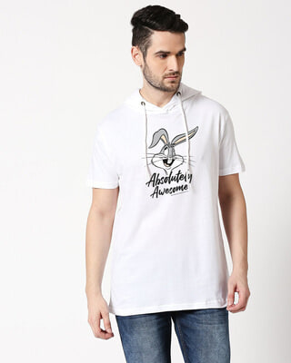Shop Absolutely Awesome Bunny Half Sleeve Hoodie T-Shirt White-Front