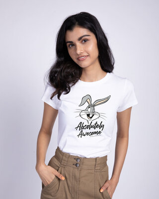 Shop Absolutely Awesome Bunny Half Sleeve T-Shirt (LTL) White-Front