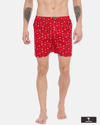 Shop Joven | Abstract Circles Red Printed Boxers-Front