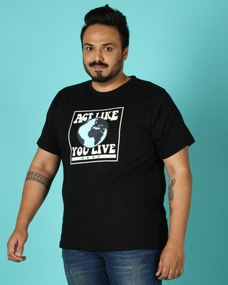 Shop Act Like Live Men's Half Sleeve Printed Plus T-shirt-Front