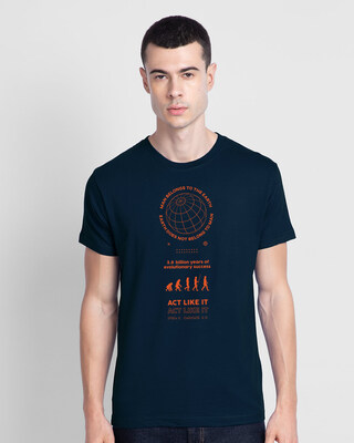 Shop Act Like One Half Sleeve T-Shirt Navy Blue-Front