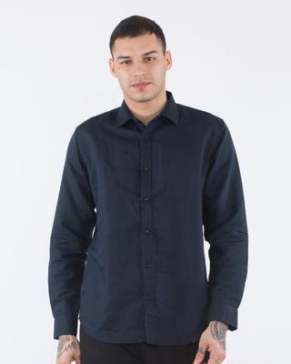 Shop Admiral Blue Cotton Linen Slim Fit Shirt-Front