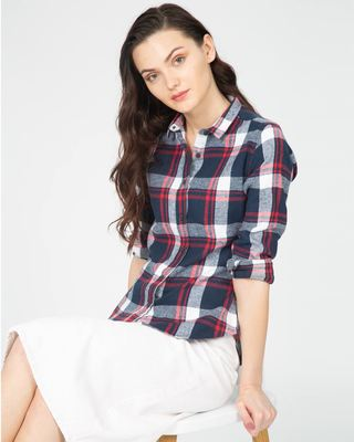 Shop Aegean Blue Check Slim Shirt-Front