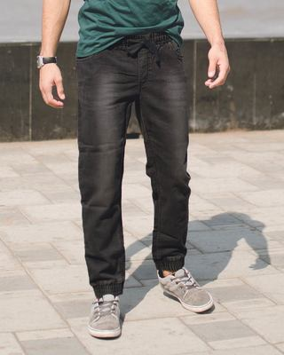Shop Ahoy Black Denim Joggers-Front