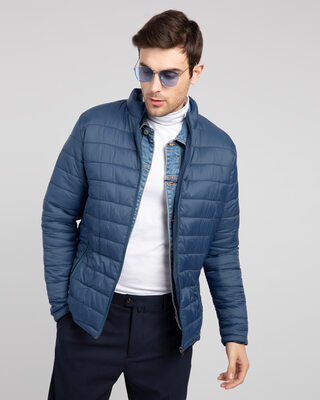 Shop Air Force Blue Plain Puffer Jacket-Front