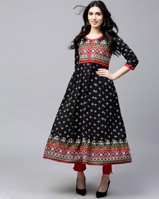 Shop AKS Black & White Printed Anarkali-Front