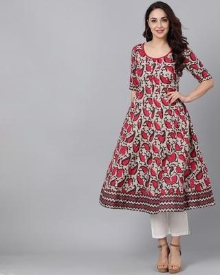 Shop AKS Brown & Pink Printed Anarkali-Front