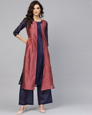 Shop AKS Burgundy & Navy Blue Solid Doubl Layered Straight Kurta-Front