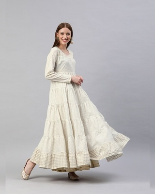 Shop AKS Cream & Gold printed tiered Flared Anarkali-Front