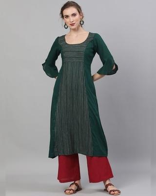 Shop AKS Green Striped Woven Design A-Line Kurta-Front