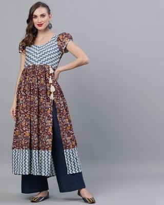 Shop AKS Maroon & Blue Kalamkari Floral Printed High Silt Anarkali-Front