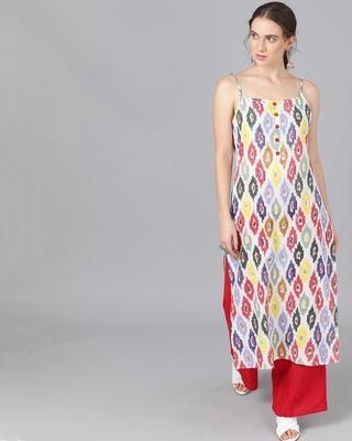 Shop AKS Multicolored Printed Kurta-Front
